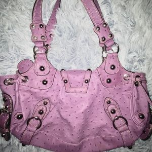 Guess Bags - Purple Ostrich Embossed Faux Leather Handbag
